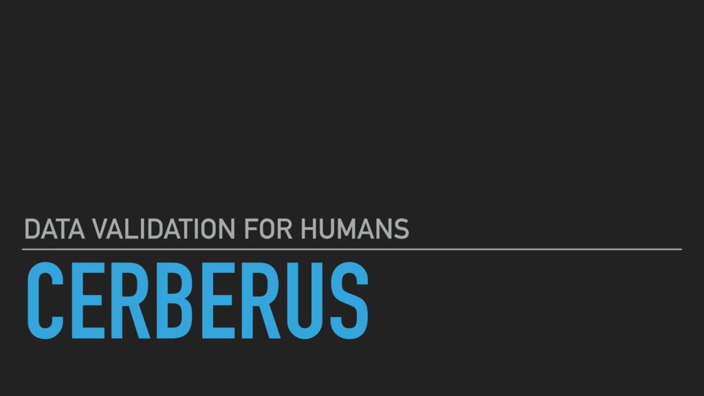 CERBERUS DATA VALIDATION FOR HUMANS