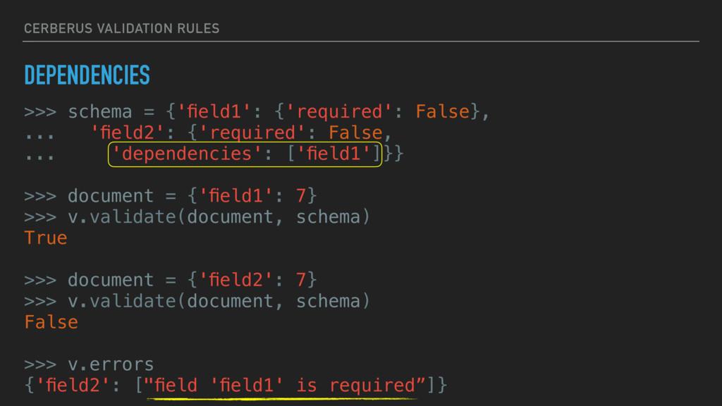 CERBERUS VALIDATION RULES DEPENDENCIES >>> sche...