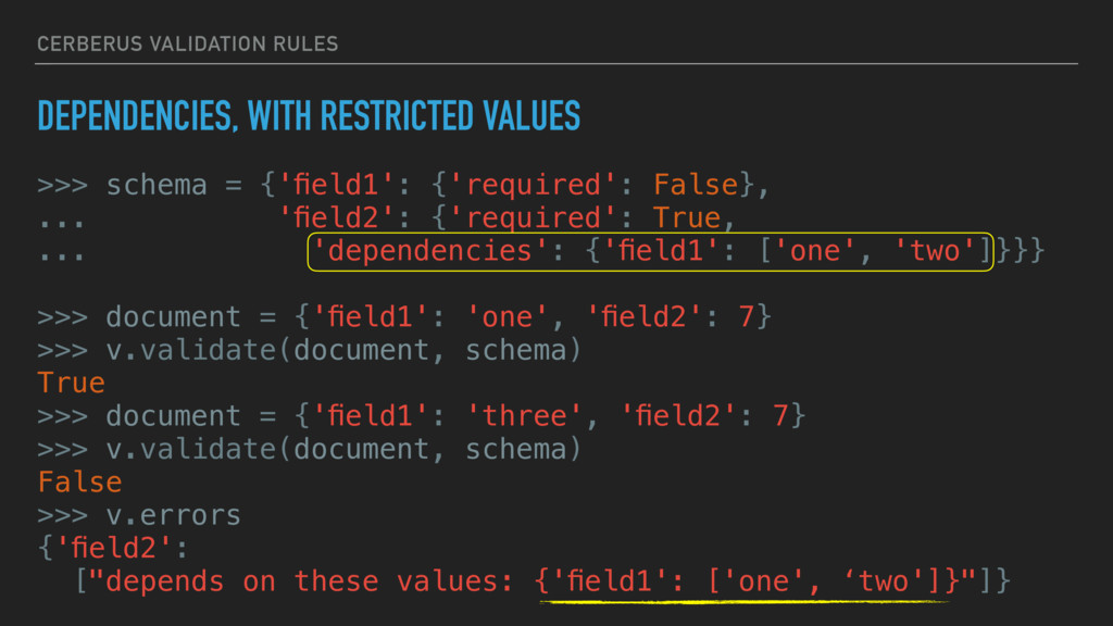 CERBERUS VALIDATION RULES DEPENDENCIES, WITH RE...
