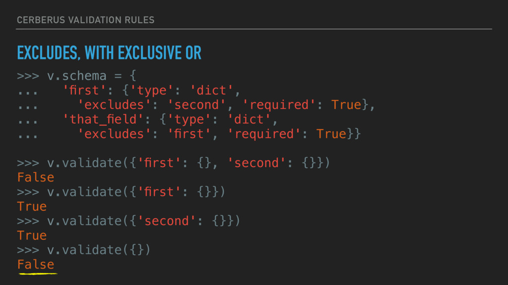 CERBERUS VALIDATION RULES EXCLUDES, WITH EXCLUS...