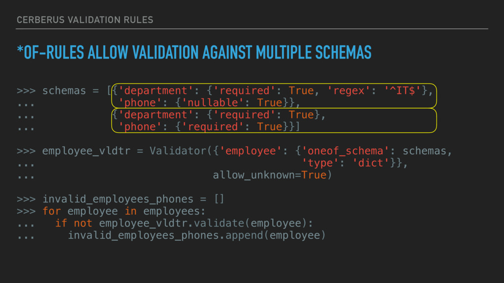 CERBERUS VALIDATION RULES *OF-RULES ALLOW VALID...