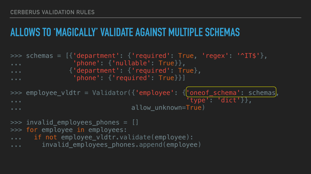 CERBERUS VALIDATION RULES ALLOWS TO 'MAGICALLY'...