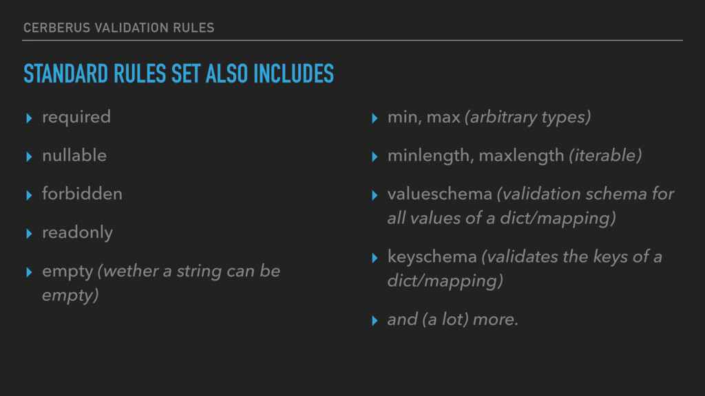 CERBERUS VALIDATION RULES STANDARD RULES SET AL...