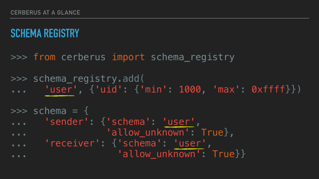 CERBERUS AT A GLANCE SCHEMA REGISTRY >>> from c...