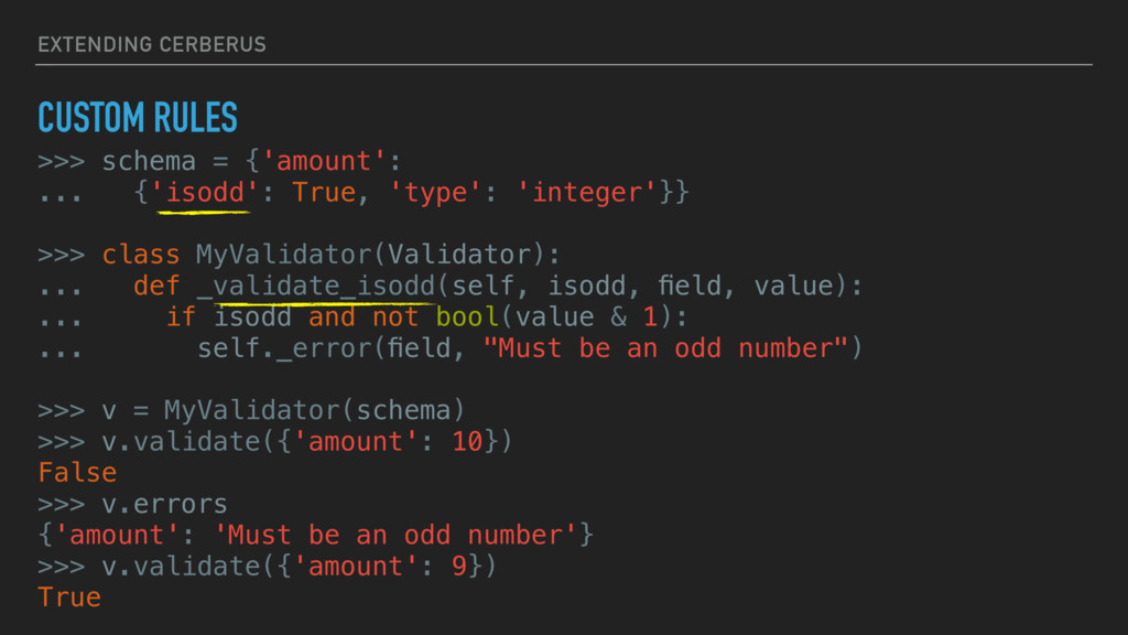 EXTENDING CERBERUS CUSTOM RULES >>> schema = {'...