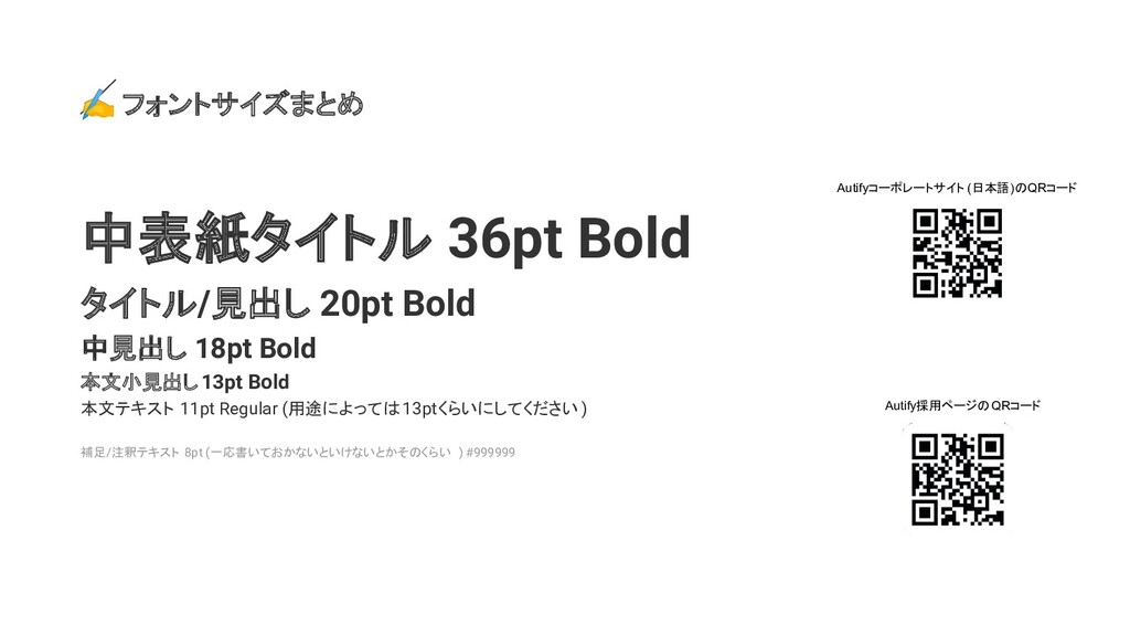✍ フォントサイズまとめ 中表紙タイトル 36pt Bold タイトル/見出し 20pt Bo...