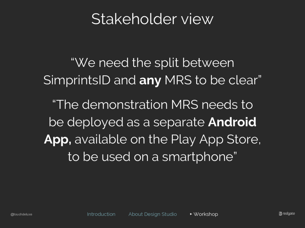 @touchdeluxe Stakeholder view Introduction Abou...