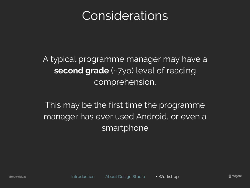 @touchdeluxe Considerations Introduction About ...