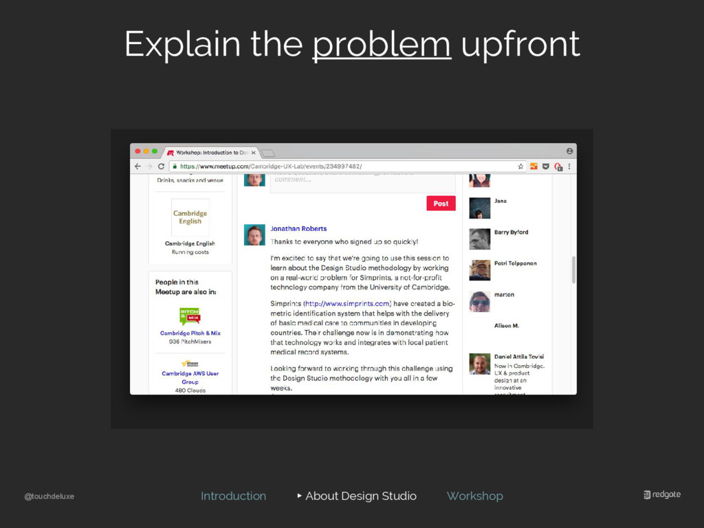 @touchdeluxe Explain the problem upfront Introd...