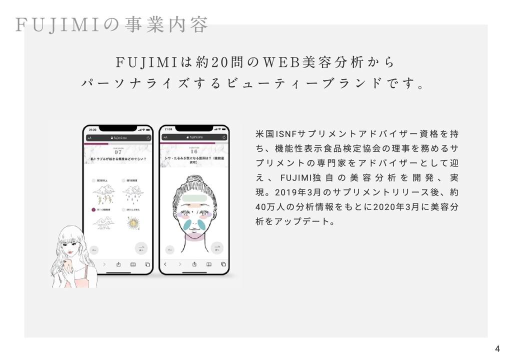 FUJIMIの事業内容 米国ISNFサプリメントアドバイザー資格を持 ち、機能性表示食品検定協...