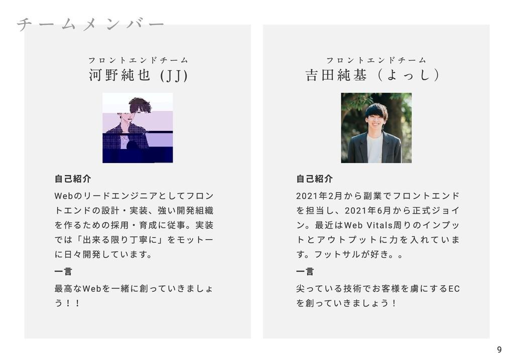 チームメンバー 9 フロントエンドチーム  河野純也 (JJ) 自己紹介  Webのリードエン...