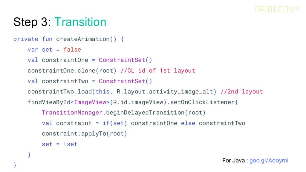 Step 3: Transition private fun createAnimation(...