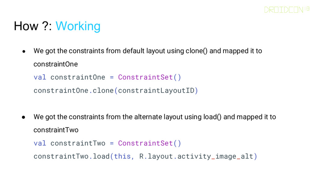 How ?: Working ● We got the constraints from de...