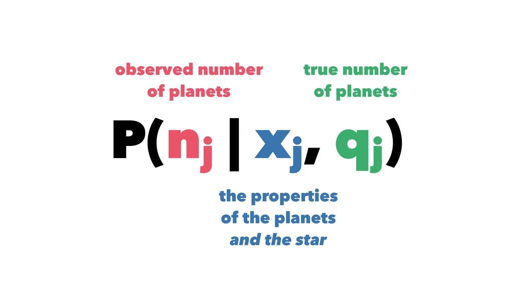 P(nj | xj , qj ) observed number of planets tru...