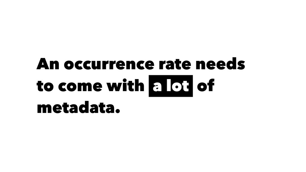 An occurrence rate needs to come with a lot of ...