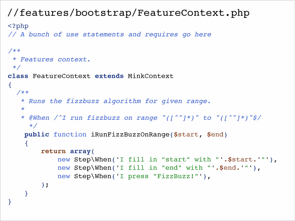 //features/bootstrap/FeatureContext.php <?php! ...