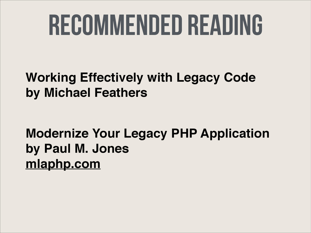 Recommended Reading Working Effectively with Le...