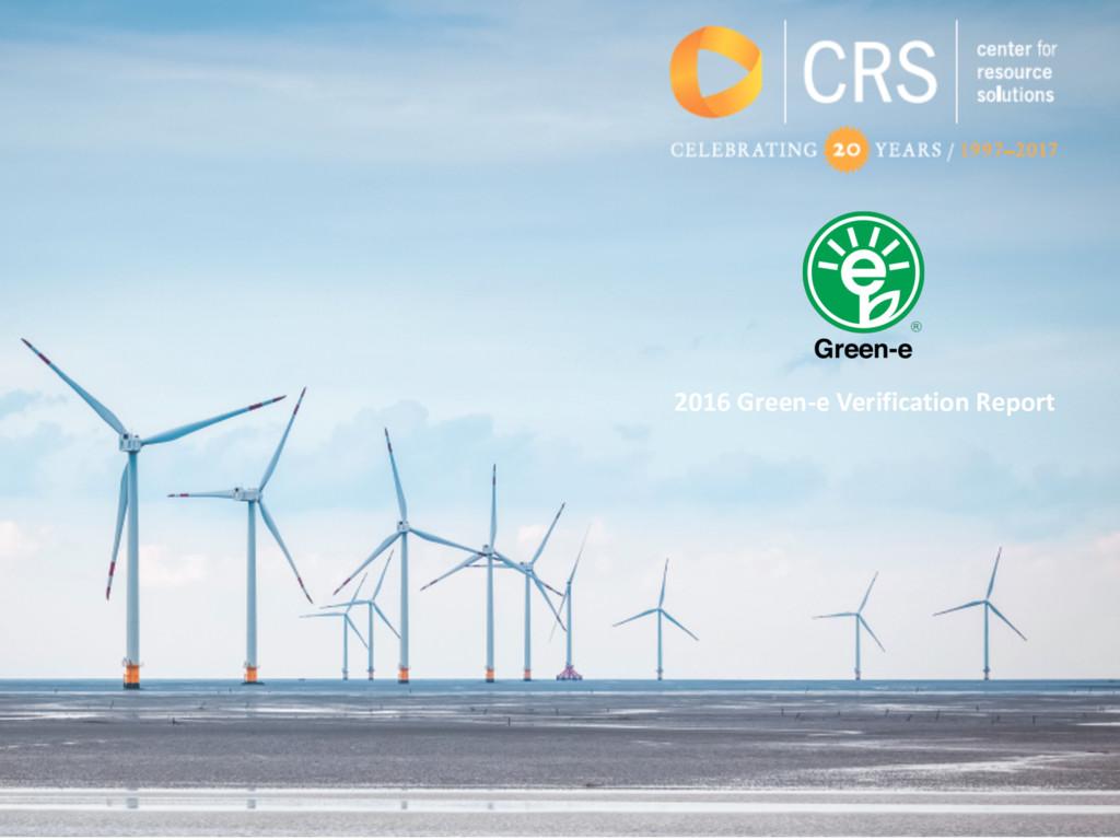 2016 Green-e Verification Report