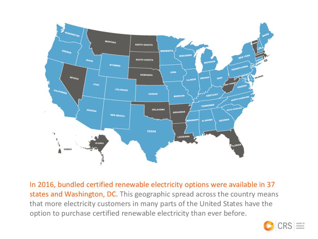 In 2016, bundled certified renewable electricit...