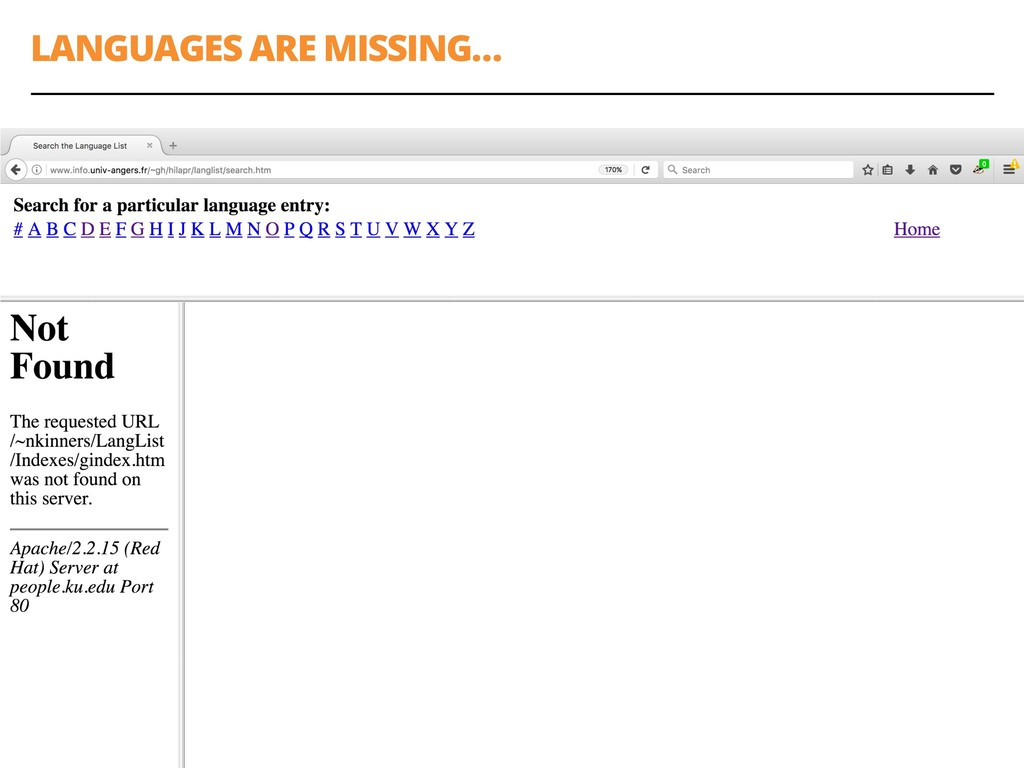 LANGUAGES ARE MISSING… 21