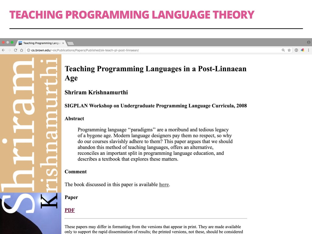 TEACHING PROGRAMMING LANGUAGE THEORY 31