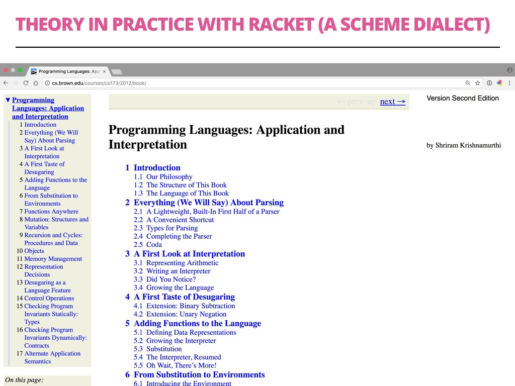 THEORY IN PRACTICE WITH RACKET (A SCHEME DIALEC...