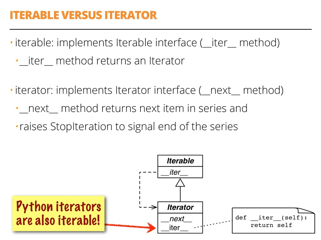 ITERABLE VERSUS ITERATOR 58 • iterable: impleme...
