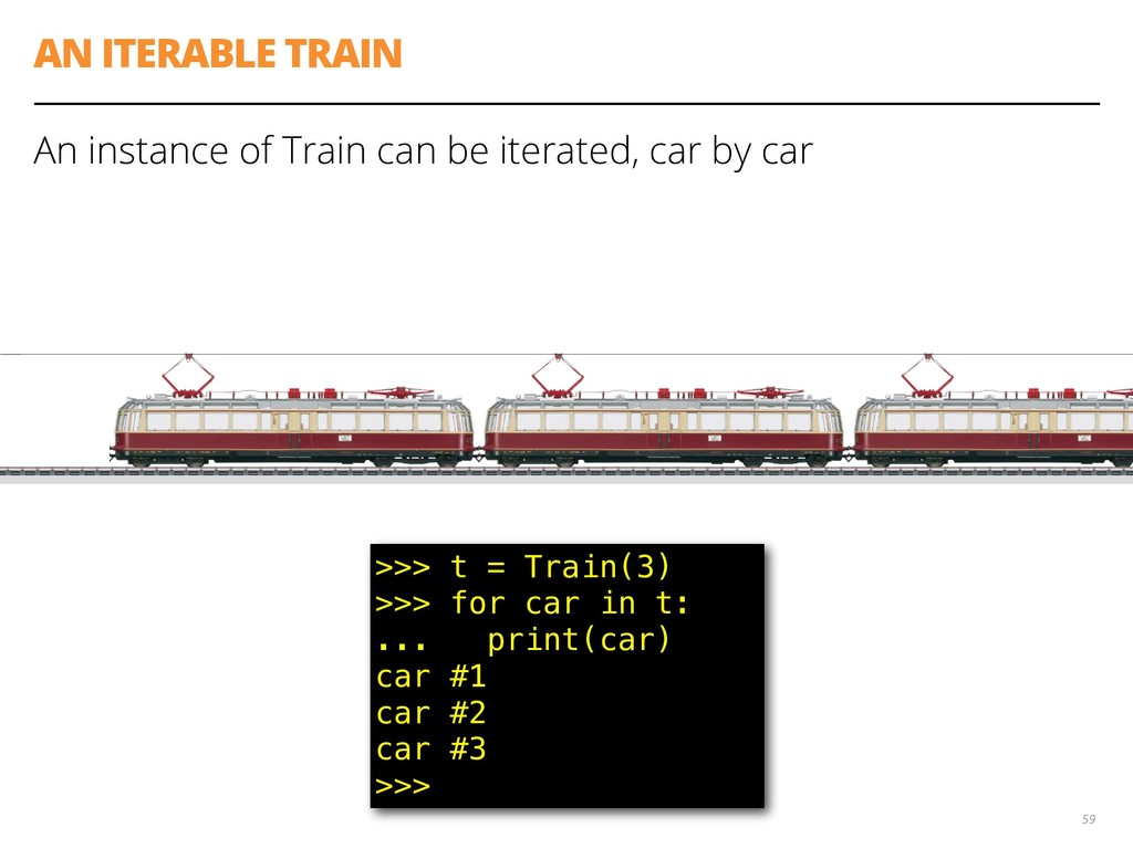 AN ITERABLE TRAIN An instance of Train can be i...