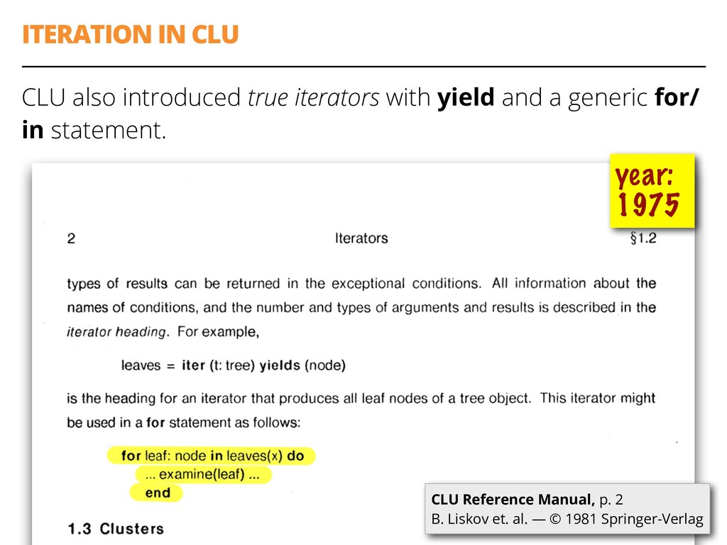 ITERATION IN CLU CLU also introduced true itera...