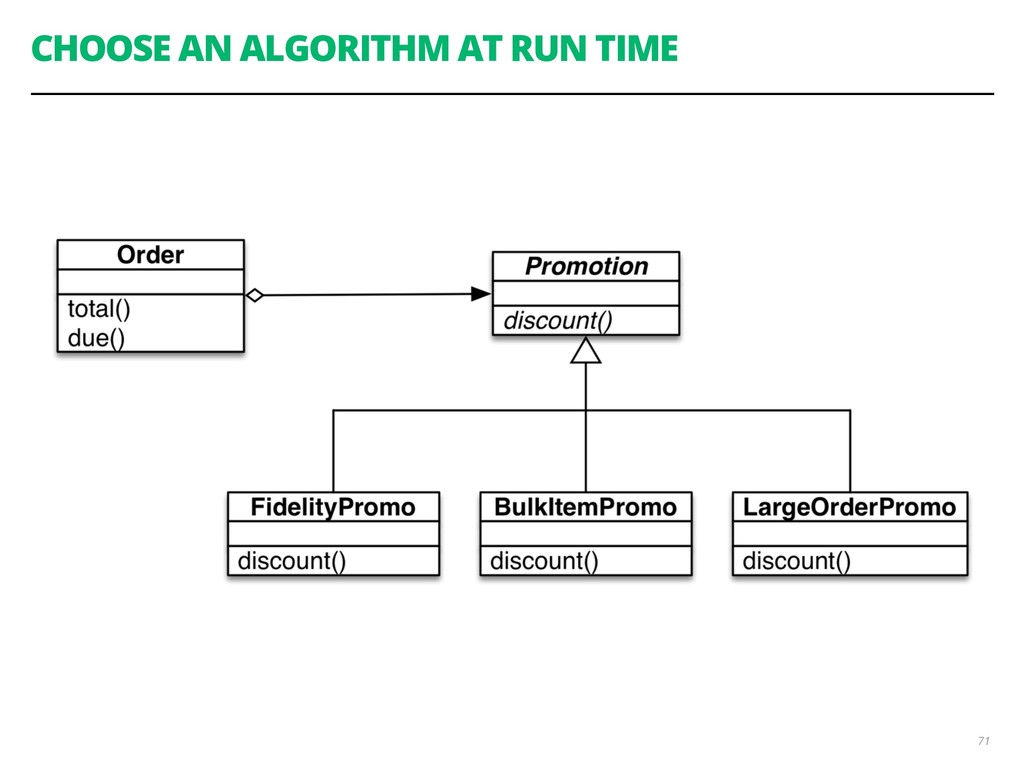CHOOSE AN ALGORITHM AT RUN TIME 71