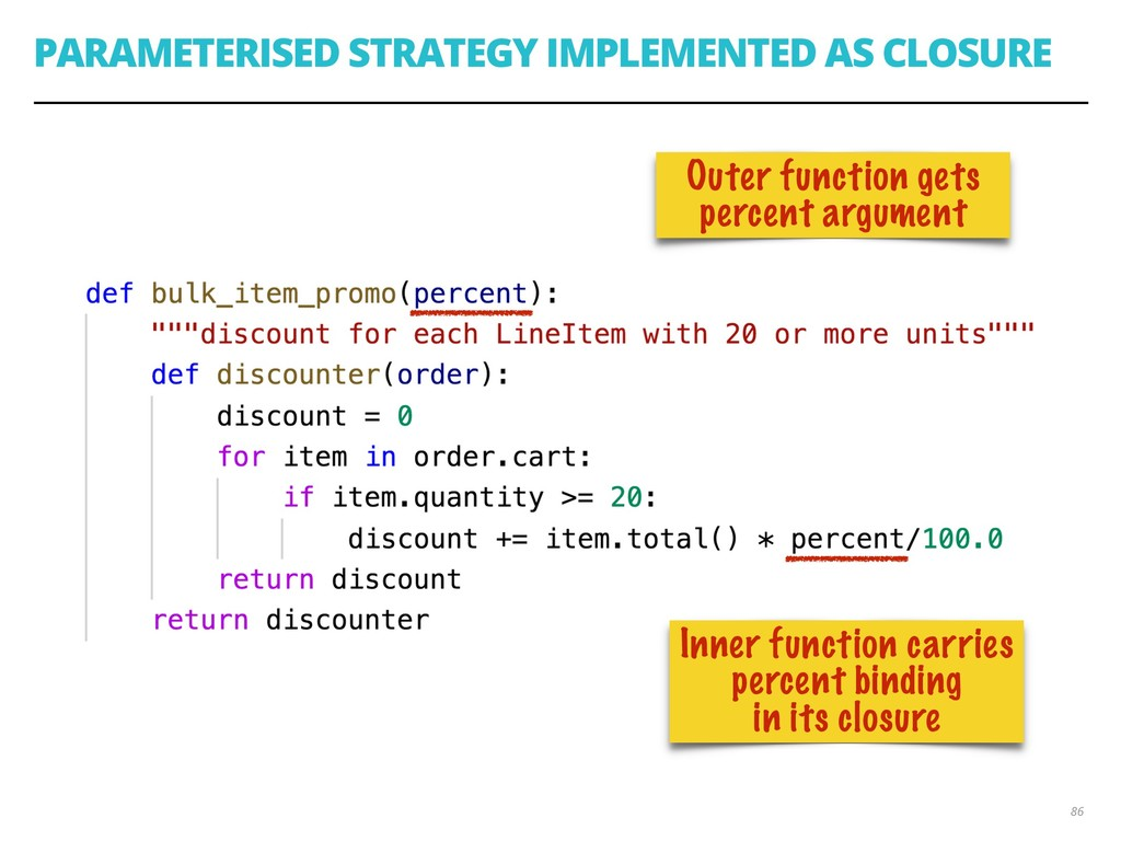 PARAMETERISED STRATEGY IMPLEMENTED AS CLOSURE 8...