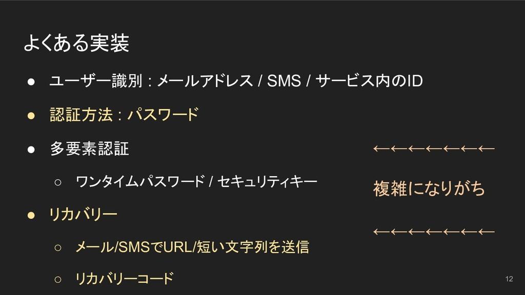 パスワード、通知、多要素認証 ● ユーザー識別 : メールアドレス / SMS / サービス内...