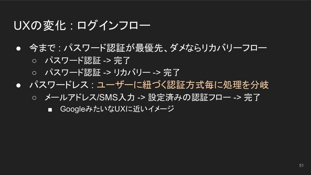 UXの変化 : ログインフロー ● 今まで : パスワード認証が最優先、ダメならリカバリーフロ...