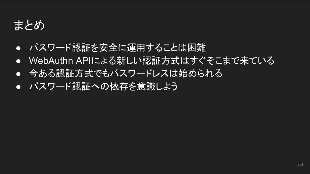 まとめ ● パスワード認証を安全に運用することは困難 ● WebAuthn APIによる新しい...