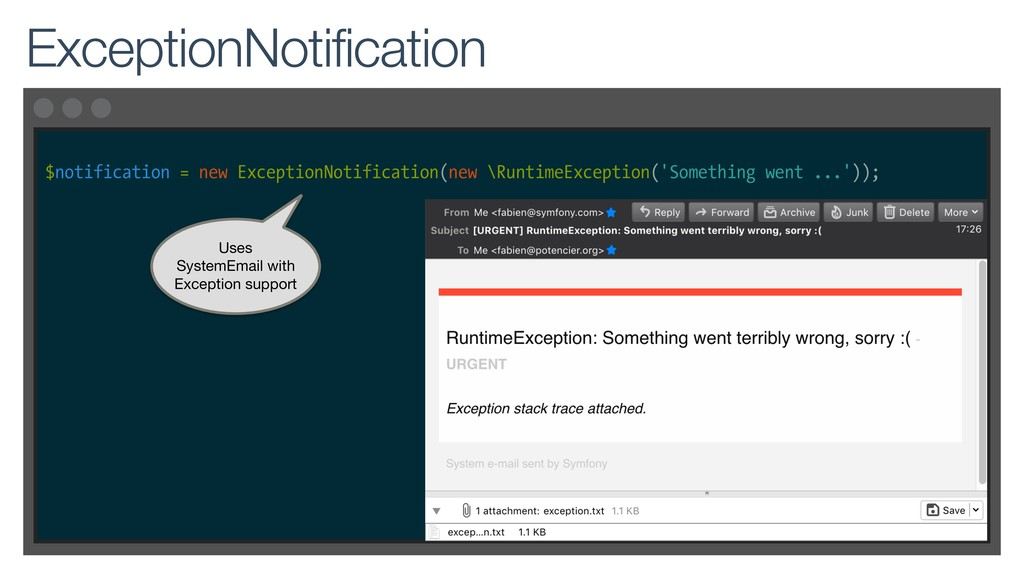 $notification = new ExceptionNotification(new \...