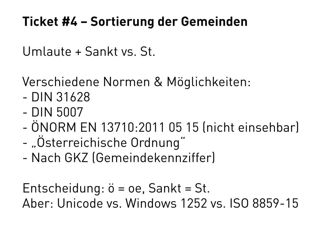Ticket #4 – Sortierung der Gemeinden Umlaute + ...