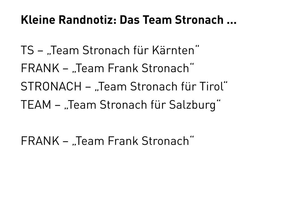 """Kleine Randnotiz: Das Team Stronach ... TS – """"T..."""