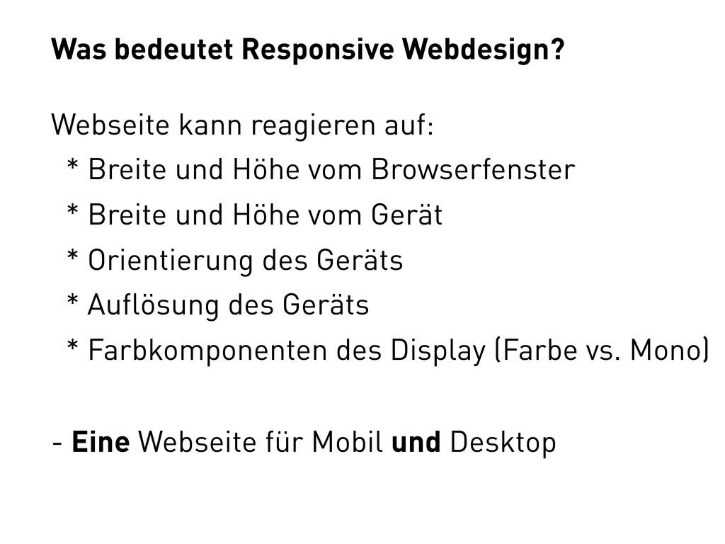 Was bedeutet Responsive Webdesign? Webseite kan...