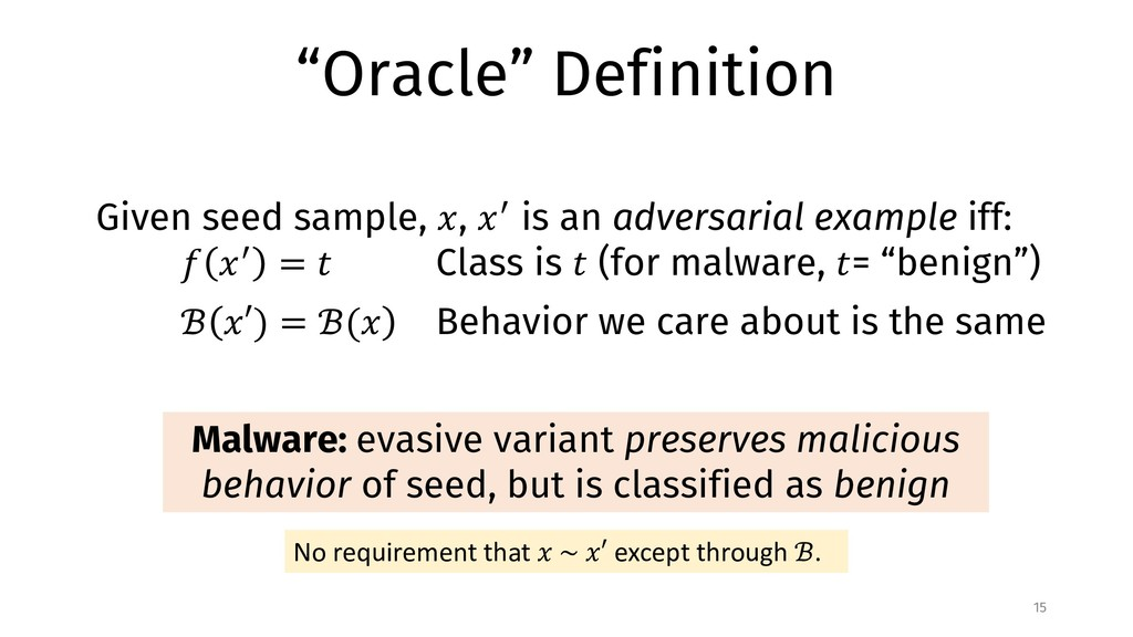 """Oracle"" Definition 15 Given seed sample, !, !""..."