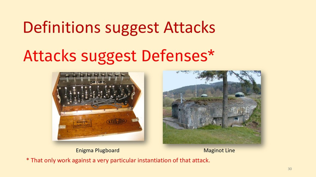 Attacks suggest Defenses* 30 * That only work a...