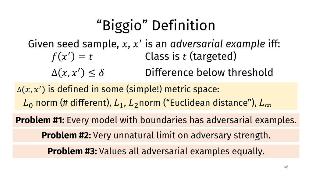 """""""Biggio"""" Definition 46 Given seed sample, !, !""""..."""