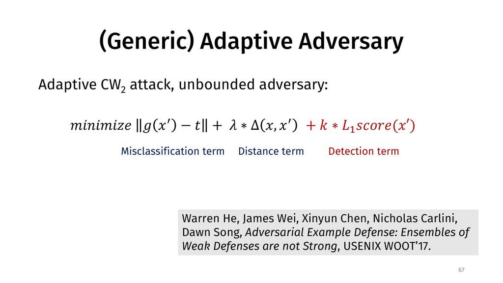 (Generic) Adaptive Adversary Adaptive CW 2 atta...
