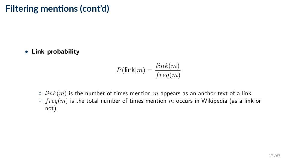 Filtering men ons (cont'd) • Link probability P...