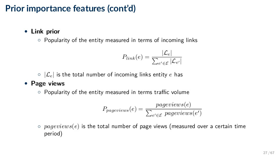 Prior importance features (cont'd) • Link prior...