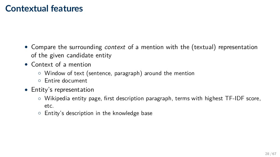 Contextual features • Compare the surrounding c...