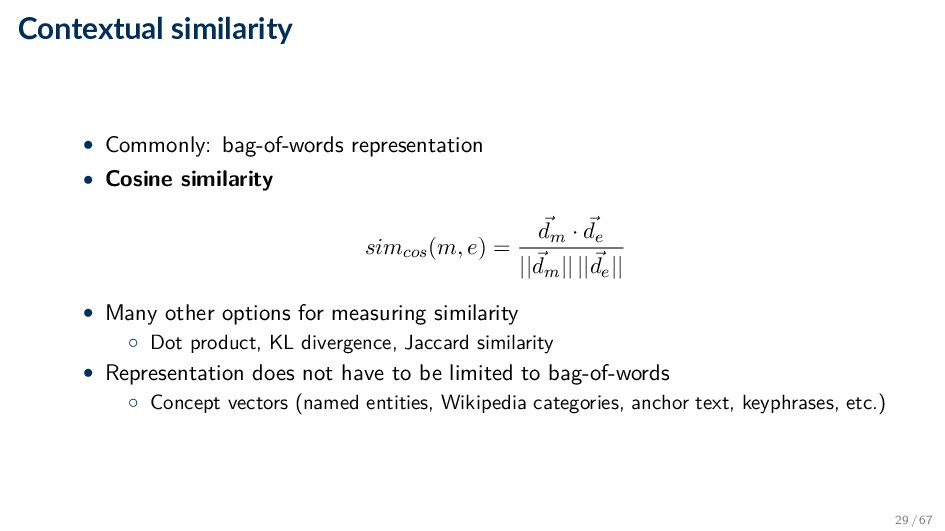 Contextual similarity • Commonly: bag-of-words ...
