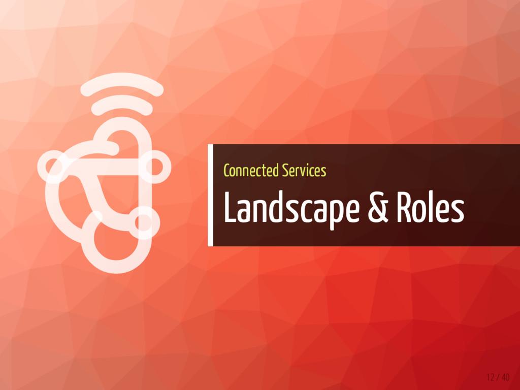   Connected Services Landscape & Roles 12 / 40