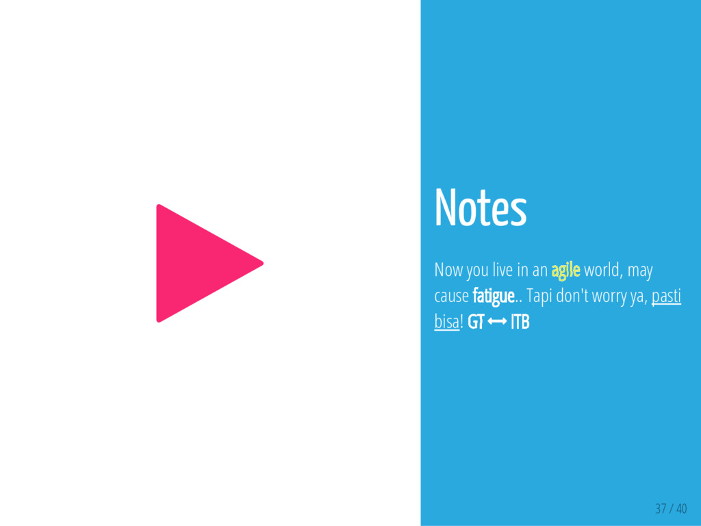 37 / 40  Notes Now you live in an agile world,...