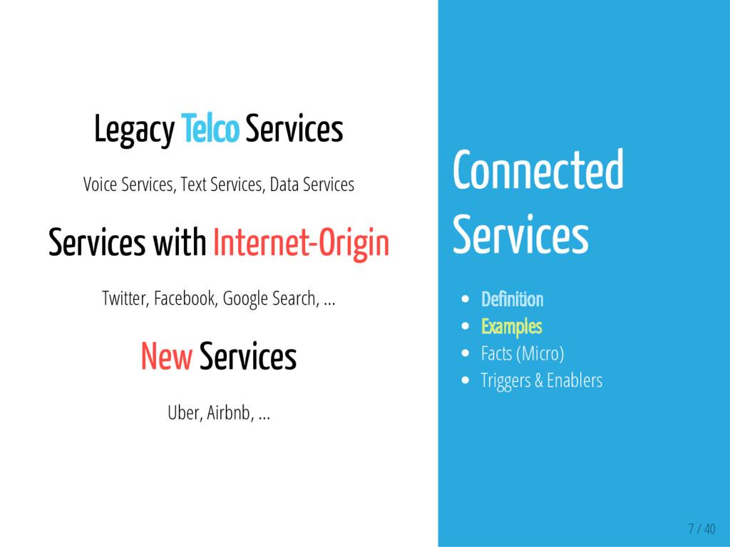 7 / 40 Legacy Telco Services Voice Services, Te...