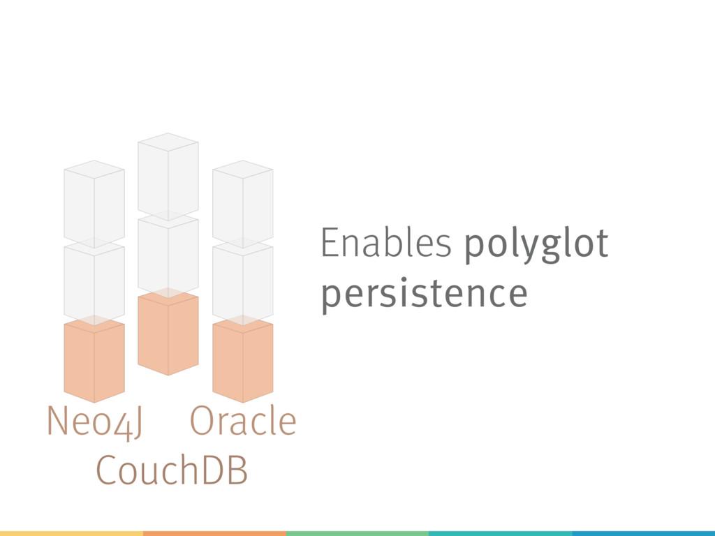 Enables polyglot persistence Neo4J CouchDB Orac...